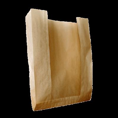 Пакет бумажный крафт с окном 210*140(70)*55
