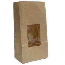 Пакет крафт двухслойный с окном 80*50*170