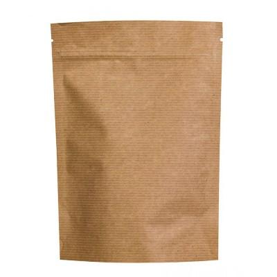 Пакет дой-пак с замком зип-лок крафт фольгированный 150x210+(40+40)