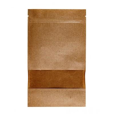 Пакет дой-пак с замком зип-лок крафт 200x260+(45+45) окно 40