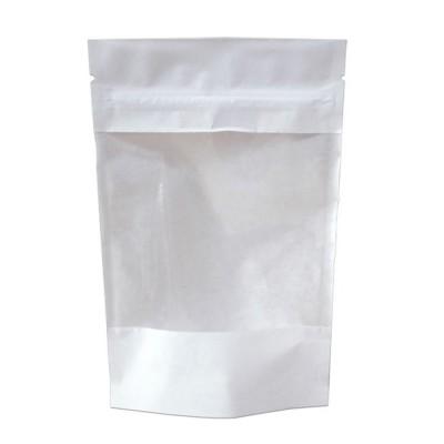 Пакет дой-пак с замком зип-лок белый 135x225+(35+35) окно 140