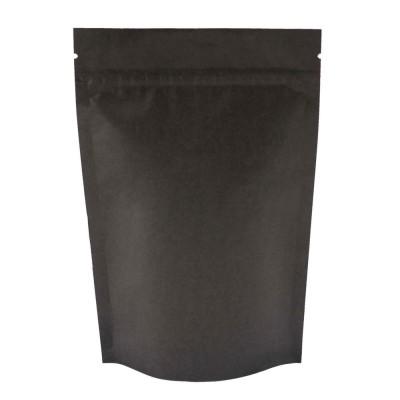 Пакет дой-пак с замком зип-лок черный фольгированный 120x185+(35+35)