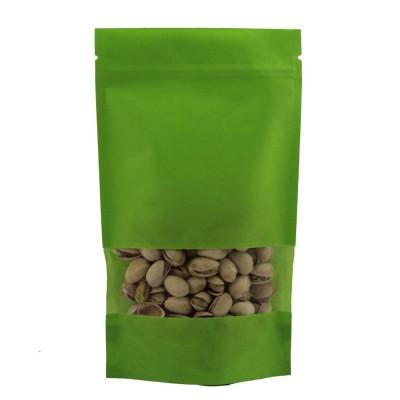Пакет дой-пак с замком зип-лок зеленый 135x225+(35+35) окно 40