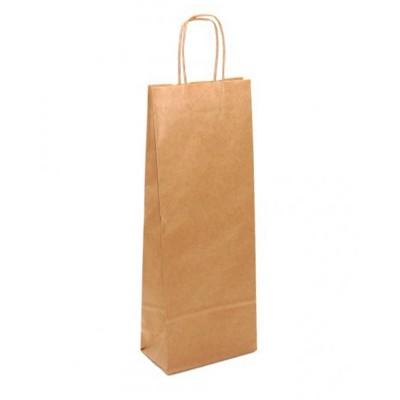Бумажный пакет с кручеными ручками 120x80x350 крафт