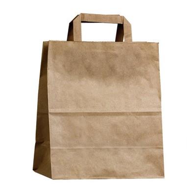 Бумажный пакет с плоскими ручками 220x100x280 крафт
