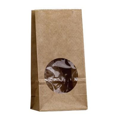 Бумажный пакет с круглым окном 100x60x200 крафт