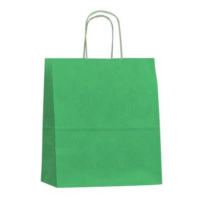 Бумажный пакет с кручеными ручками 250x120x270 зеленый вельвет