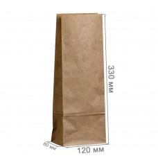 Бумажный пакет 120x80x330 крафт