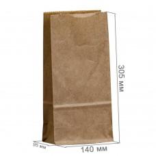 Бумажный пакет 140x95x305 крафт (50 гр/м²)