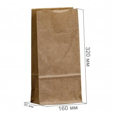 Бумажный пакет 160x95x320 крафт