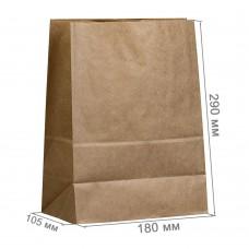 Бумажный пакет 180x105x290 крафт (50 гр/м²)