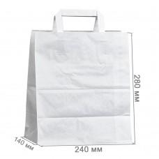 Бумажный пакет с плоскими ручками 240x140x280 белый