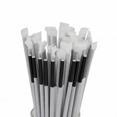 Трубочки для коктейля в индивидуальной упаковке черные