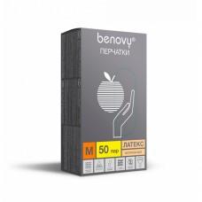 Перчатки латексные «Benovy» натуральные 50 пар