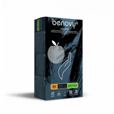 Перчатки нитриловые «Benovy» черные 50 пар