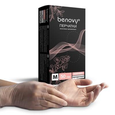 Перчатки виниловые «Benovy» прозрачные 50 пар