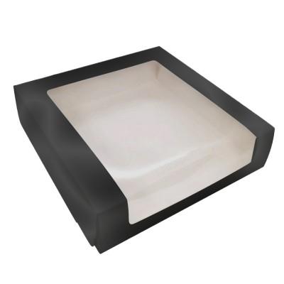 Коробка для торта 225x225x60 черная с окном