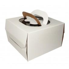 Коробка для торта «Эконом» 300x300x190 белая с ручкой