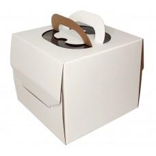 Коробка для торта «Эконом» 240x240x200 белая с ручкой