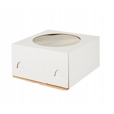 Коробка для торта «Эконом» 300x300x190 белая с окном