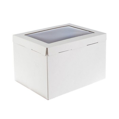 Коробка для торта «Эконом» 300x400x260 белая с окном
