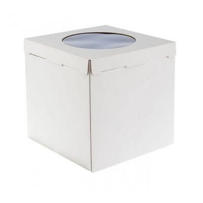 Коробка для торта «Эконом» 300x300x300 белая с окном