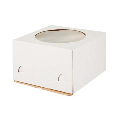 Коробка для торта «Эконом» 240x240x220 белая с окном
