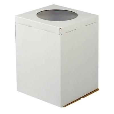 Коробка для торта «Эконом» 300x300x450 белая с окном