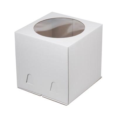 Коробка для торта «Эконом» 320x320x350 белая с окном