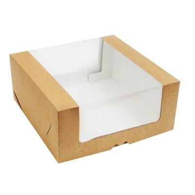 Коробка для торта 290x290x130 крафт с окном