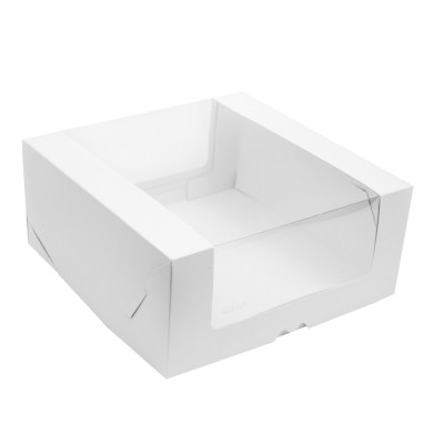 Коробка для торта 290x290x130 белая с окном