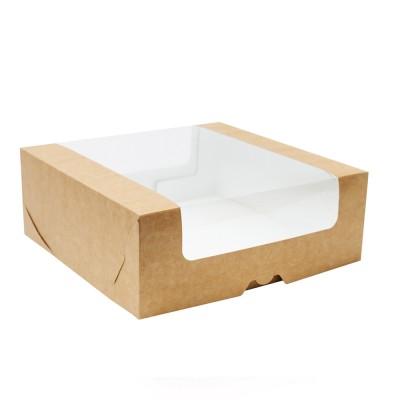 Коробка для торта 225x225x85 крафт с окном