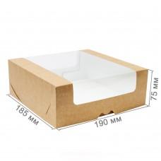 Коробка для торта 190x185x75 крафт с окном