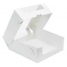 Коробка для торта 190x185x75 белая с окном