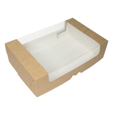 Коробка для торта 280x185x75 крафт с окном