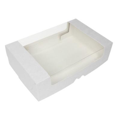 Коробка для торта 280x185x75 белая с окном