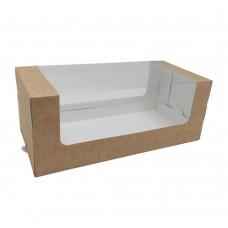 Коробка для рулета 250x120x100 крафт с окном