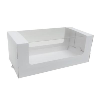 Коробка для рулета 250x120x100 белая с окном