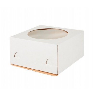 Коробка для торта 280x280x180 белая хром-эрзац с окном