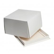 Коробка для торта 170x170x100 белая хром-эрзац