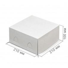 Коробка для торта 210x210x100 белая хром-эрзац