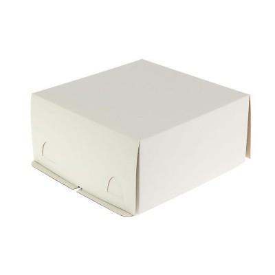 Коробка для торта 280x280x140 белая хром-эрзац