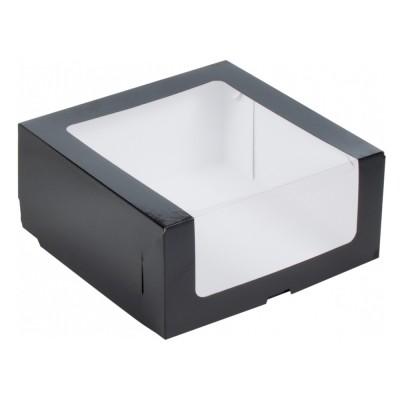 Коробка для торта 225x225x110 черная с окном