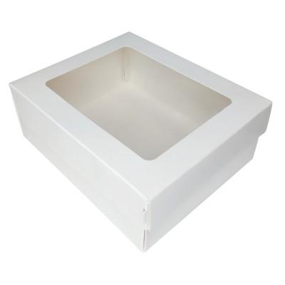 Коробка для торта 130x160x60 белая с окном