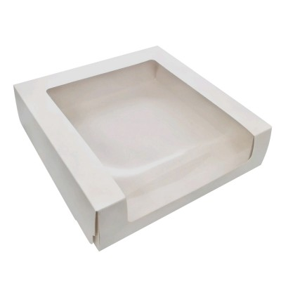 Коробка для торта 225x225x60 белая с окном