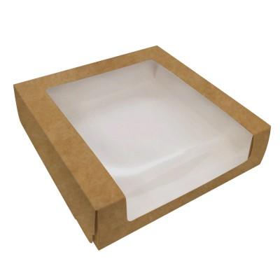 Коробка для торта 225x225x60 крафт с окном