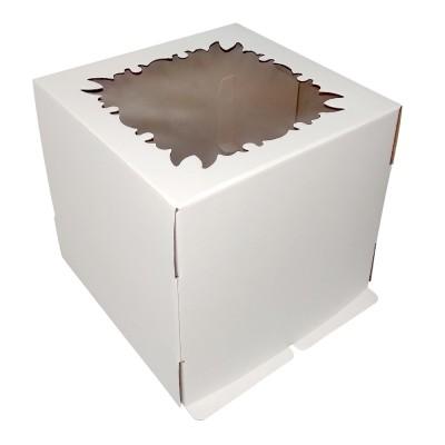 Коробка для торта «Эконом» 250x250x240 белая с окном