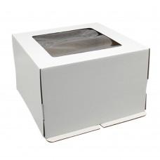 Коробка для торта 300x300x190 белая хром-эрзац с окном квадратным