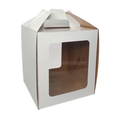 Коробка для кулича и пряничного домика 160x160x180 «Past Handle» белая с окном и ручкой