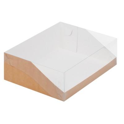 Коробка для торта 235x235x100 крафт с прозрачной крышкой